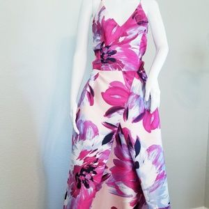 Long Pink Floral Ball Gown
